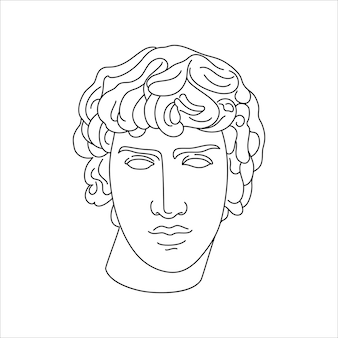 Antique sculpture of antinous in a minimal liner trendy style. vector illustration of the greek god for prints on t-shirts, posters, postcards, tattoos and more