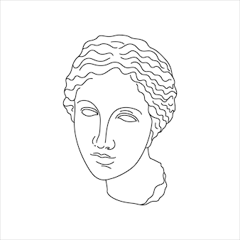 Antique sculpture of aphrodite in a minimal liner trendy style. vector illustration of the greek god for prints on t-shirts, posters, postcards, tattoos and more