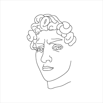 Antique sculpture of david in a minimal liner trendy style. vector illustration of the greek god for prints on t-shirts, posters, postcards, tattoos and more