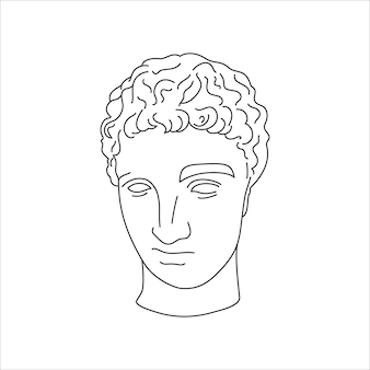 Antique sculpture of hermes in a minimal liner trendy style. vector illustration of the greek god for prints on t-shirts, posters, postcards, tattoos and more