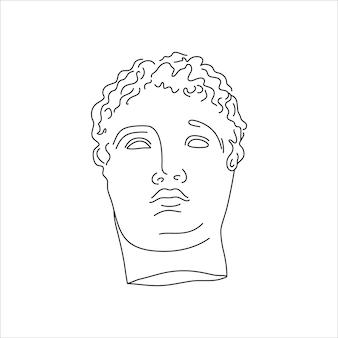 最小限のライナートレンディなスタイルのアンティーク彫刻。 tシャツ、ポスター、ポストカード、タトゥーなどのプリントのためのギリシャ神のベクトルイラスト