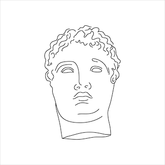 Antique sculpture in a minimal liner trendy style. vector illustration of the greek god for prints on t-shirts, posters, postcards, tattoos and more