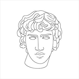 최소한의 라이너 트렌디 스타일의 안티누스의 골동품 조각. 티셔츠, 포스터, 엽서, 문신 등의 인쇄를 위한 그리스 신의 벡터 그림