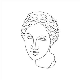 최소한의 라이너 트렌디한 스타일의 아프로디테의 골동품 조각. 티셔츠, 포스터, 엽서, 문신 등의 인쇄를 위한 그리스 신의 벡터 그림