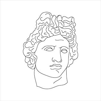 최소한의 라이너 최신 유행 스타일의 아폴로 골동품 조각. 티셔츠, 포스터, 엽서, 문신 등의 인쇄를 위한 그리스 신의 벡터 그림