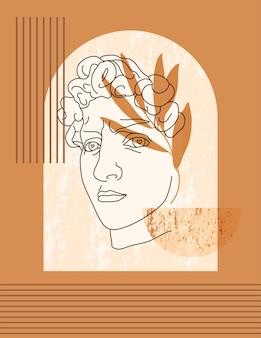 최소한의 트렌디한 스타일로 다비드의 골동품 조각. 그리스 신의 벡터 boho 그림, 티셔츠, 포스터, 카드, 표지, 소셜 미디어 포스트에 인쇄를 위한 기하학적 shapesand 꽃 요소