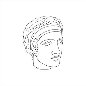 미니멀한 라이너 트렌디한 스타일의 디아듀민 골동품 조각. 티셔츠, 포스터, 엽서, 문신 등의 인쇄를 위한 그리스 신의 벡터 그림