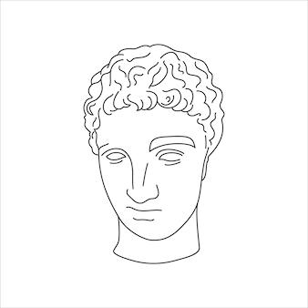 最小限のライナートレンディなスタイルのエルメスのアンティーク彫刻。 tシャツ、ポスター、ポストカード、タトゥーなどのプリントのためのギリシャ神のベクトルイラスト