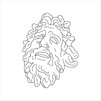最小限のライナートレンディなスタイルのラクーンのアンティーク彫刻。 tシャツ、ポスター、ポストカード、タトゥーなどのプリントのためのギリシャ神のベクトルイラスト