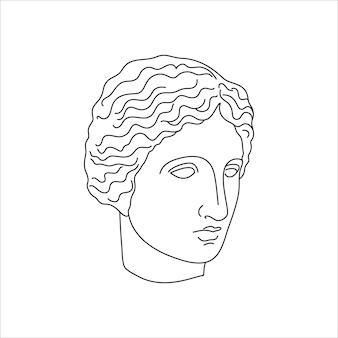 最小限のライナートレンディなスタイルのミューズのアンティーク彫刻。 tシャツ、ポスター、ポストカード、タトゥーなどのプリントのためのギリシャ神のベクトルイラスト