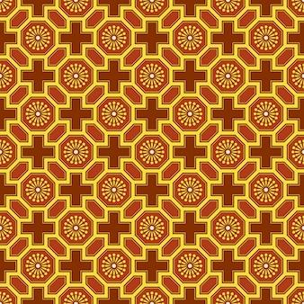 Античный бесшовный фон восточной китайской многоугольной геометрии цветочной решетки