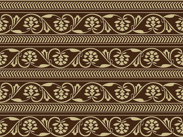 Antique seamless background of vintage round cross spiral flower vine arrow line