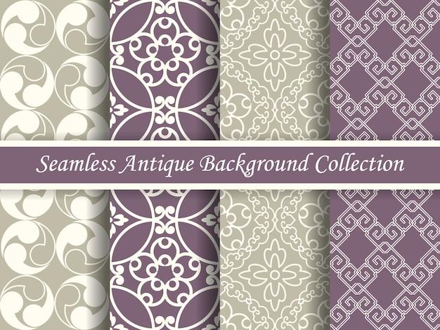 골동품 원활한 우아한 보라색과 베이지 색 톤 패턴 컬렉션, 4 개의 세련된 복고풍 디자인.