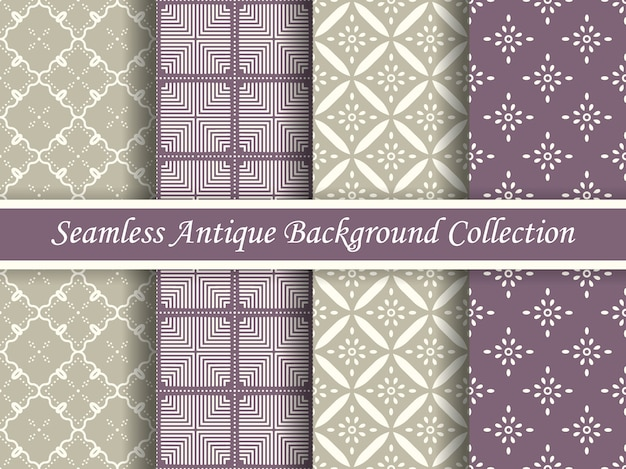 Antique seamless elegant purple and beige tone pattern collection, four stylish retro design.