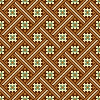 갈색 사각형 체크 기하학의 골동품 원활한 패턴 크로스 모자이크