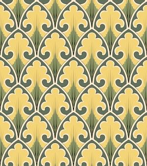 곡선의 골동품 원활한 패턴 크로스 빈티지 자연 정원 잎