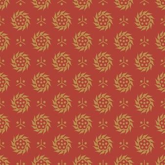 東洋中国黄金赤のアンティークのシームレスパターンラウンドスパイラル花