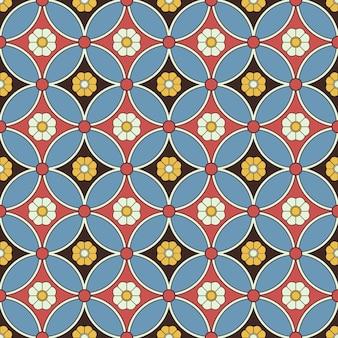 ラウンドクロスフレーム花のアンティークのシームレスパターン