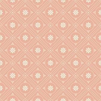 빈티지 핑크 라운드 체크 도트 라인 꽃의 골동품 원활한 패턴