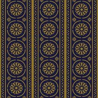 골동품 원활한 패턴 라운드 곡선 크로스 라인 꽃