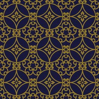 골동품 원활한 패턴 둥근 곡선 나선형 프레임 꽃
