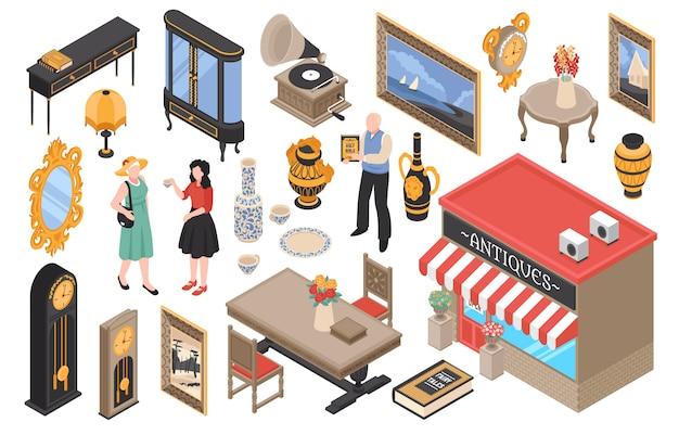 アンティーク家具店等尺性ビンテージ家具古い食器と分離された家のアイテムの要素のセット