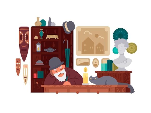 骨董品店。骨董品の売り手は古くて珍しいものを売っています。ベクトルイラスト