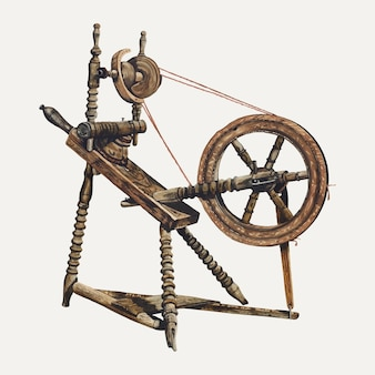 Antique spinning wheel illustration vector, remixed from the artwork by walter praefke
