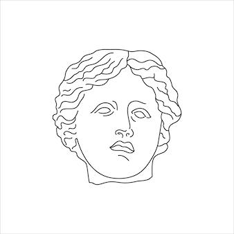 最小限のライナートレンディなスタイルのアンティークスタチューヘッド。 tシャツ、ポスター、ポストカード、タトゥーなどのプリントのためのギリシャ神のベクトルイラスト