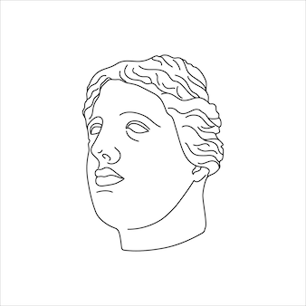 Antique statue head in a minimal liner trendy style. vector illustration of the greek god for prints on t-shirts, posters, postcards, tattoos and more