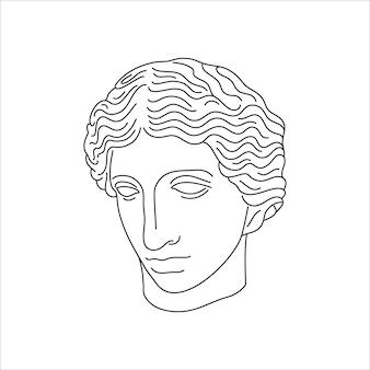 최소한의 라이너 최신 유행 스타일의 부상당한 아마존의 골동품 동상. t-셔츠, 포스터, 엽서, 문신 등의 인쇄를 위한 그리스 조각의 벡터 일러스트 레이 션