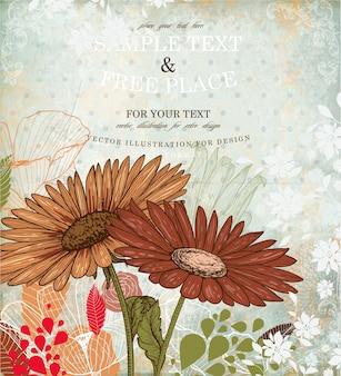 골동품 줄무늬 복고풍 패턴 꽃