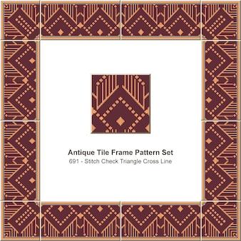 Antique tile frame pattern set aboriginal stitch check triangle cross line, ceramic decoration.