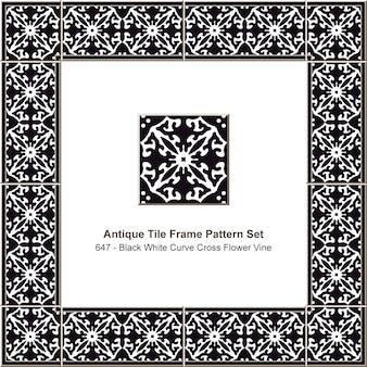 アンティークタイルフレームパターンセットブラックホワイトカーブクロスフラワーツル、セラミック装飾。