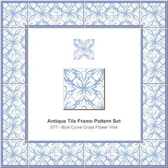 골동품 타일 프레임 패턴 세트 블루 라운드 커브 크로스 꽃 덩굴, 세라믹 장식.