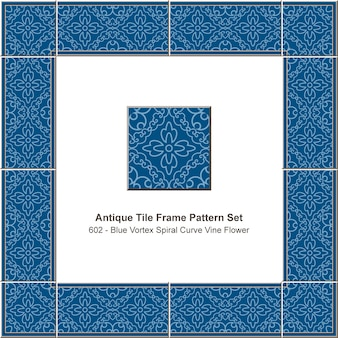 アンティークタイルフレームパターンセット青い渦スパイラルカーブつる花、セラミック装飾。