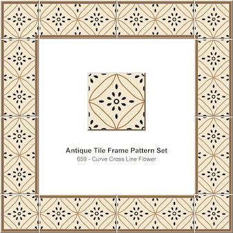 アンティークタイルフレームパターンセットカーブクロスラインフラワー、セラミック装飾。