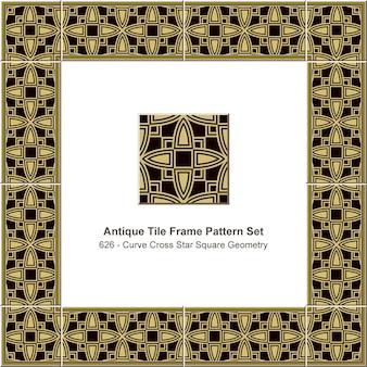 アンティークタイルフレームパターンセットカーブクロススタースクエアジオメトリ、セラミック装飾。