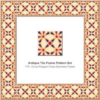 골동품 타일 프레임 패턴 세트 곡선 다각형 크로스 기하학 꽃, 세라믹 장식.