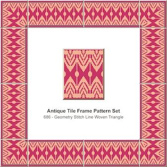 Antique tile frame pattern set geometry stitch line woven triangle, ceramic decoration.