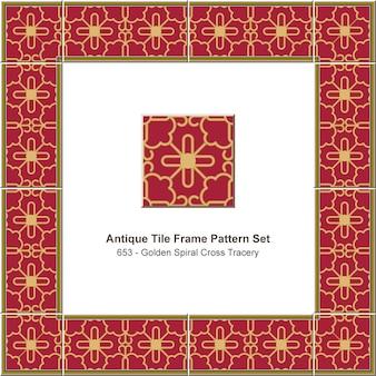 アンティークタイルフレームパターンセットゴールデンスパイラルクロス網目模様、セラミック装飾。