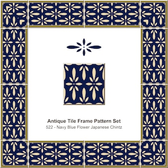 Antique tile frame pattern set navy blue flower japanese chintz
