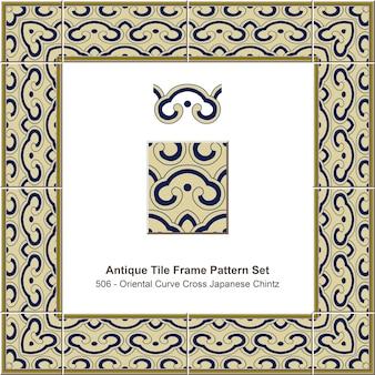 Antique tile frame pattern set oriental curve cross japanese chintz