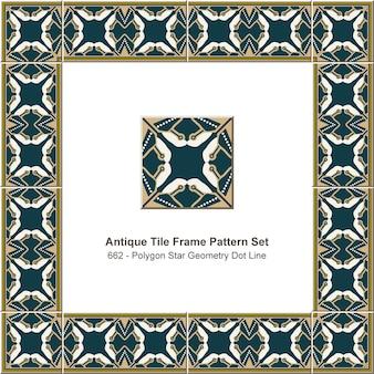 アンティークタイルフレームパターンセットポリゴン星形状ドットライン万華鏡、セラミック装飾。