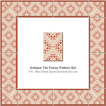 Antique tile frame pattern set red check spiral diamond dot line, ceramic decoration.