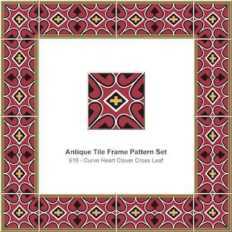 アンティークタイルフレームパターンセット赤い曲線ハートクロスクローバーの葉、セラミック装飾。