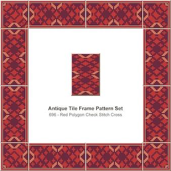 Antique tile frame pattern set red polygon check stitch cross geometry, ceramic decoration.