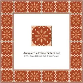 앤티크 타일 프레임 패턴 세트 라운드 체크 도트 크로스 플라워, 세라믹 장식.