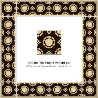 골동품 타일 프레임 패턴 세트 라운드 체크 사각 모자이크 크로스 기하학, 세라믹 장식.