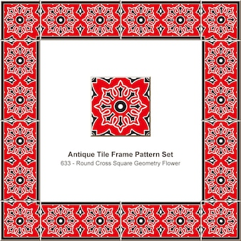 アンティークタイルフレームパターンセットラウンドクロススクエアジオメトリフラワー、セラミック装飾。